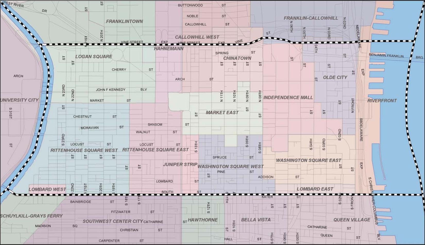 Philadelphia neighborhood map - Map of Philadelphia
