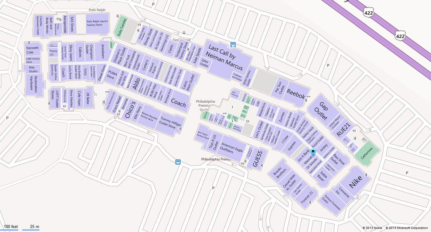 Philadelphia Premium Outlets Map Philadelphia outlets map   Map of Philadelphia premium outlets