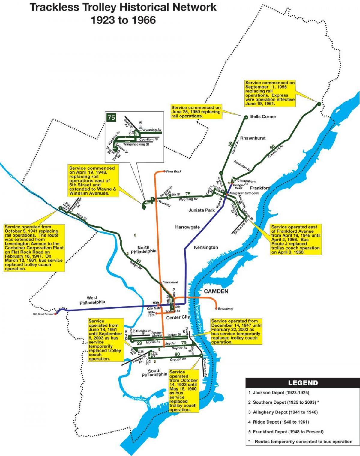 Septa trolley map Map of Septa trolley Pennsylvania USA